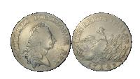 Fredrik den store sølvmynt, advers og revers. Portrett av Fredrik den store og randskriften Fridericus Borussorum Rex og Ein Reichsthaler 17 a 85