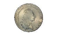 Advers side av Fredrik den store sølvmynt, portrett med randskrift
