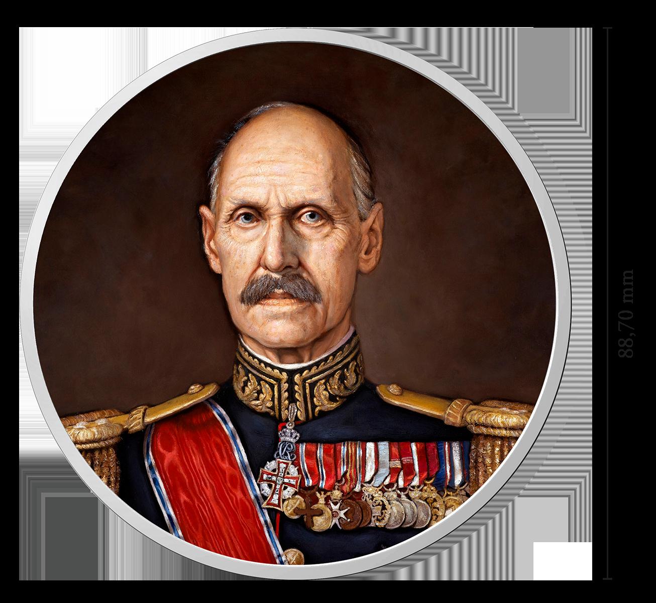 Gigantmedalje med portrettmaleri av Kong Haakon VII