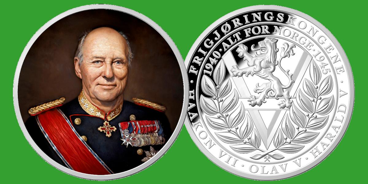 Kong Harald V hedret i fullfargepreg på gigantmedalje
