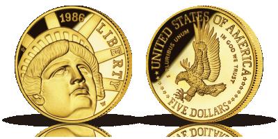 USAs første moderne minnemynt i gull