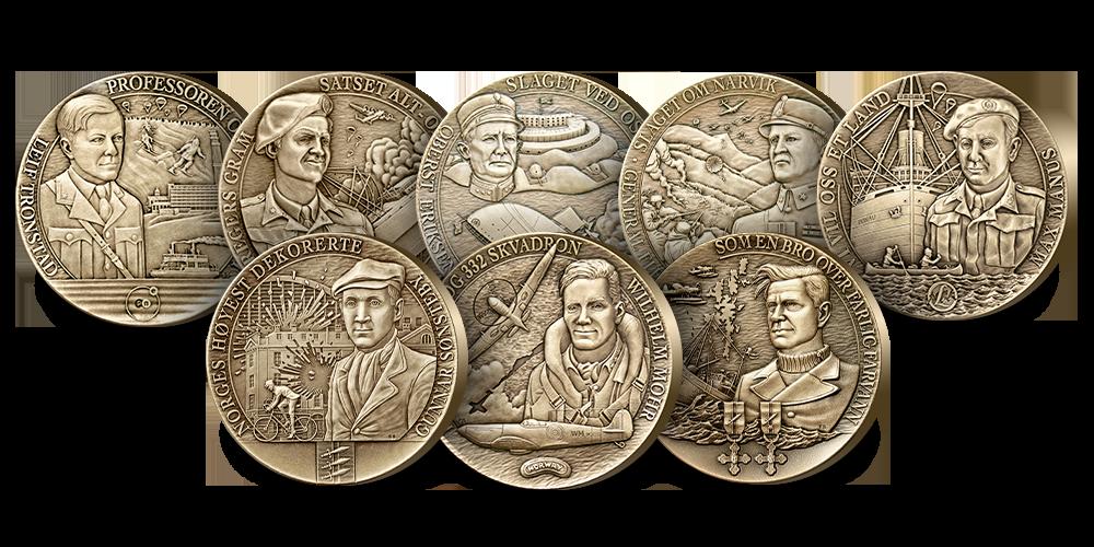 Krigsminnesett i massiv bronse