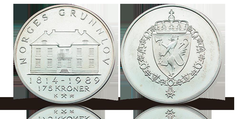 Grunnloven 175 å. Advers side har motiv av et kronet riksvåpen omkranset av symboler på kongehuset. Revers side har motiv av Eidsvollbygningen med randskriften, Norges Grunnlov 1814 - 1989 175 kroner.