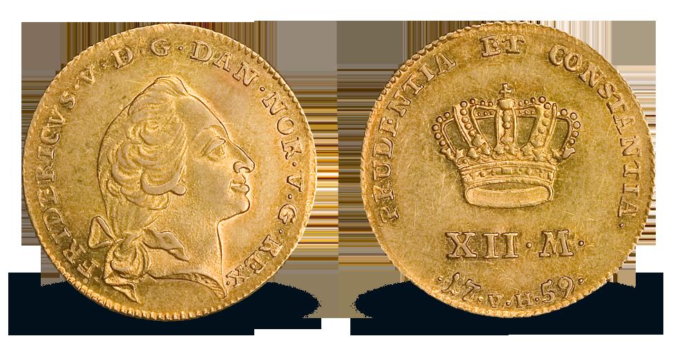 Original gulldukat fra Frederik V 1746-1766 i gull - kun 12 tilgjengelig!
