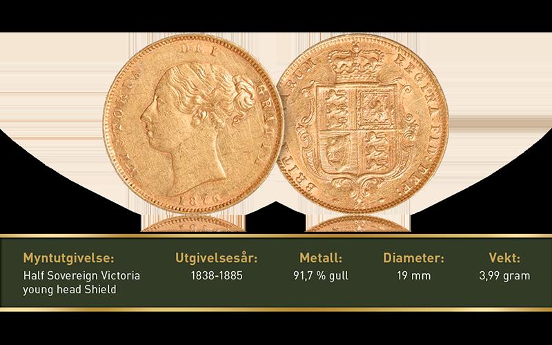 Original halv Sovereign gullmynt under Victoria