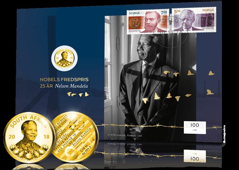 Nelson Mandela gullmynt myntbrev