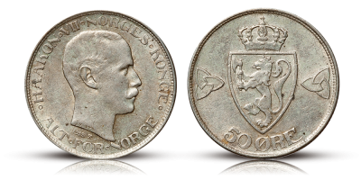 Haakon VII, 50 øre, 1918 Kv. 0