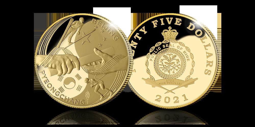 Handover mynten, revers og advers side i gull