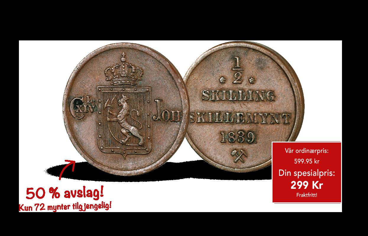 Kong Karl Johans aller første norske ½-skilling