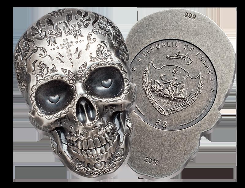 Mynt formet som hodeskalle preget i 99,9% rent sølv