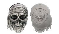 Sølv minnemynt formet som hodeskalle
