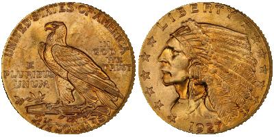 Legendarisk Indian Head 2,5 dollar