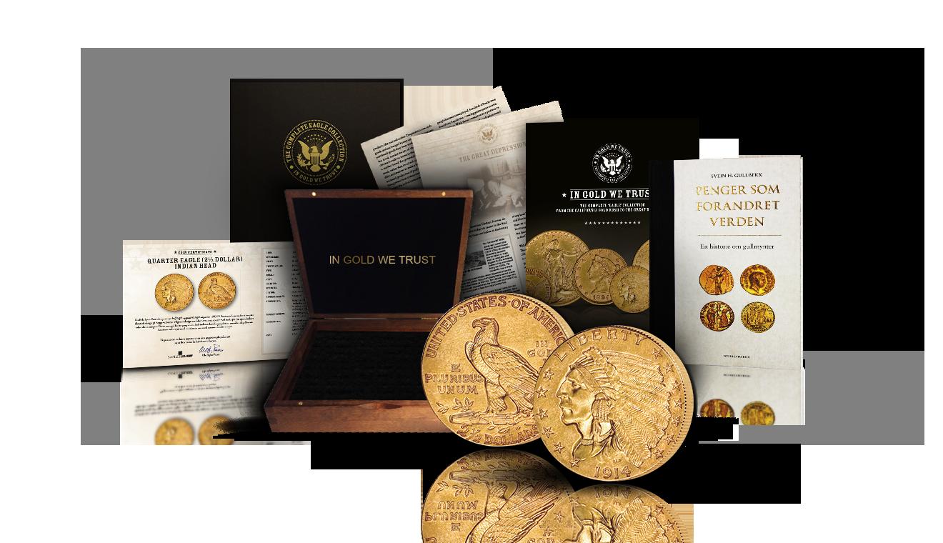 Gullmyntsamlingen In gold we trust fra USA