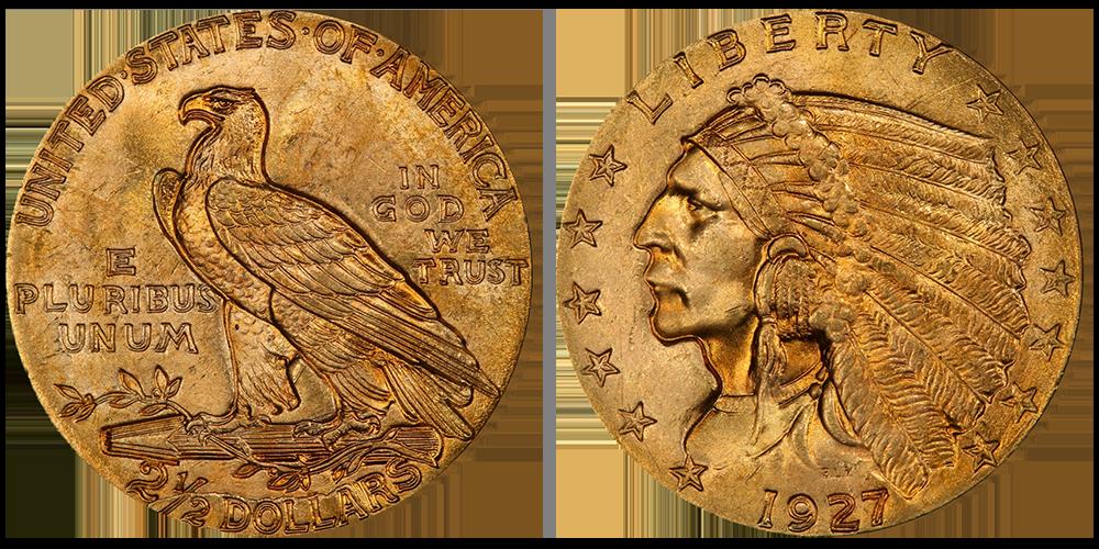 """Legendariske """"Indian Head"""" 2,5 dollar"""