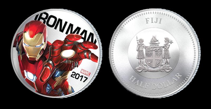 Iron Man på mynt belagt med sølv og med innebygd lyseffekt. Kun 1 tilgjengelig!