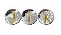 Tre mynter i klassisk myntmetall, belagt med Fairmined gull