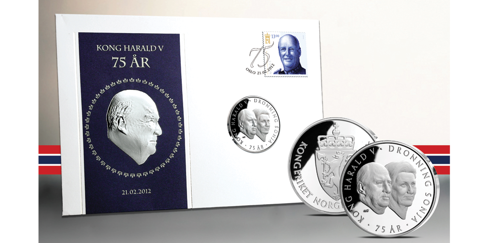 Kong Harald 75 år myntbrev