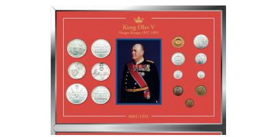 NYHET: 15 originalmynter fra Kong Olav V i elegant jubileumsramme!