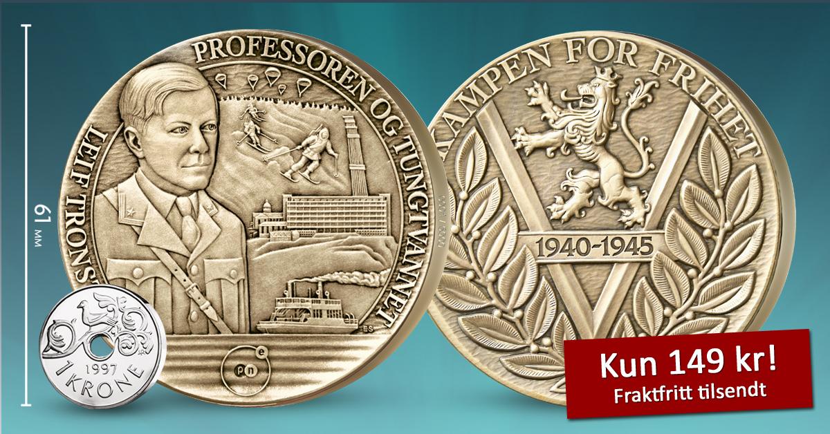 Kampen om tungtvannet og den uunværlige Leif Tronstad hedres på gigantmedalje i massiv bronse