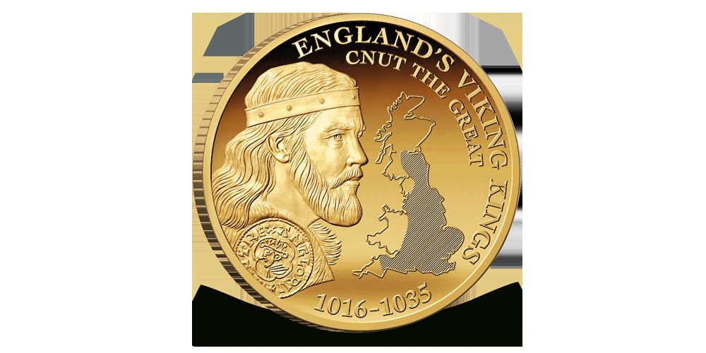 Kong Knut den mektige og england sett fra verdensrommet på gullmynt