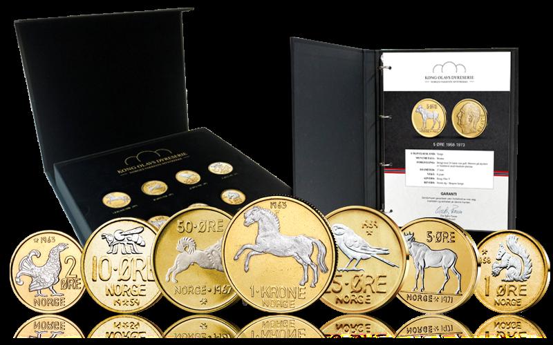 Dyremyntserien belagt med gull og platina