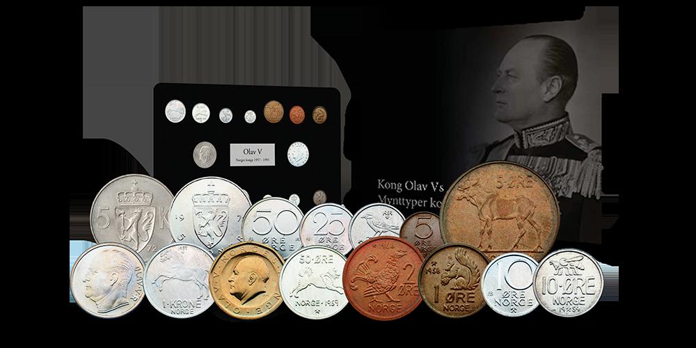 Komplettsett med Kong Olavs mynttyper