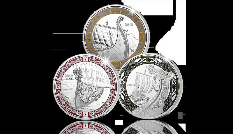 Vikingskip på sølvmynter fra et av verdens største myntverk