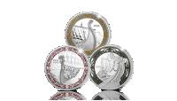 Kmplettsett med tre vikingmynter i sølv