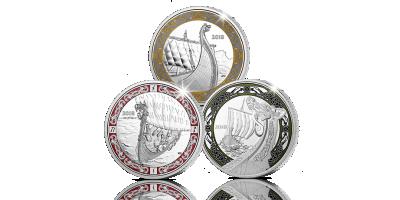 Komplett sett med tre offisielle vikingmynter i 99,9% sølv