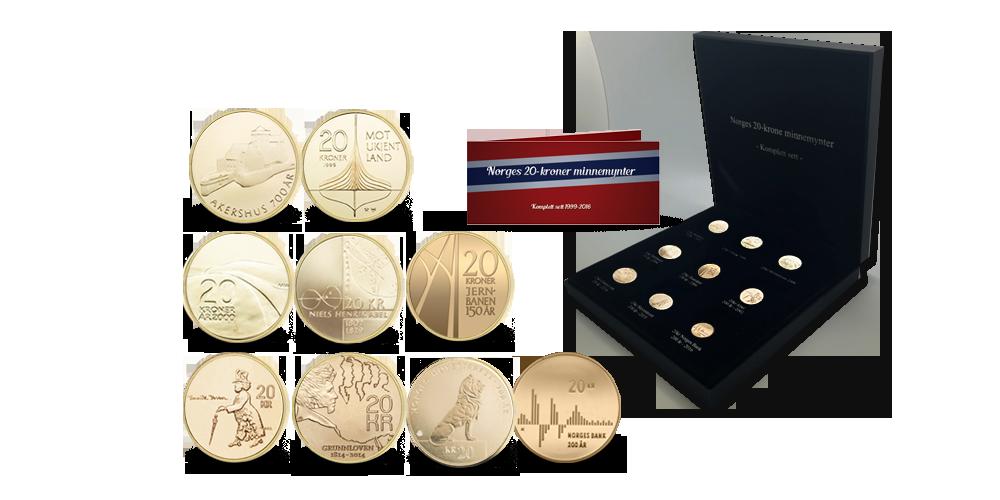 Komplettsett med alle Norges ni jubileumstjuekroner - preget i perioden fra 1996 til 2016