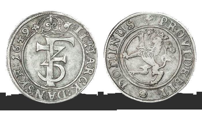 Kong Frederik IIIs aller første 2 mark i sølv