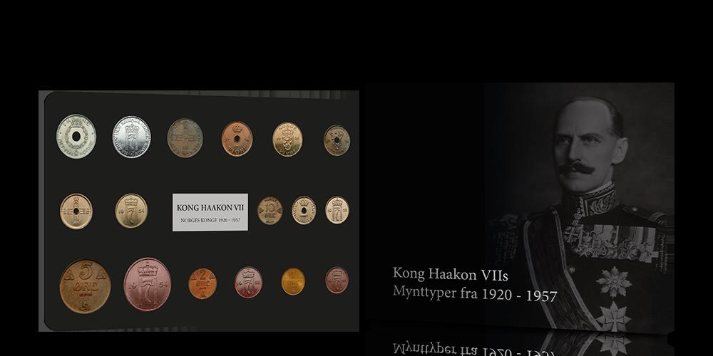 Komplet sett med Kong Haakon VIIs mynttyper fra 1920 - 1957!