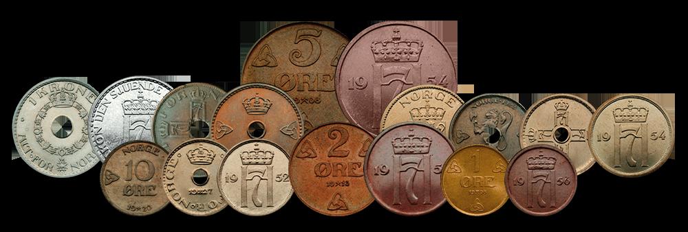 Alle 17 myntene i settet