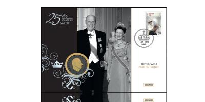 Kongeparet 25 år på tronen myntbrev