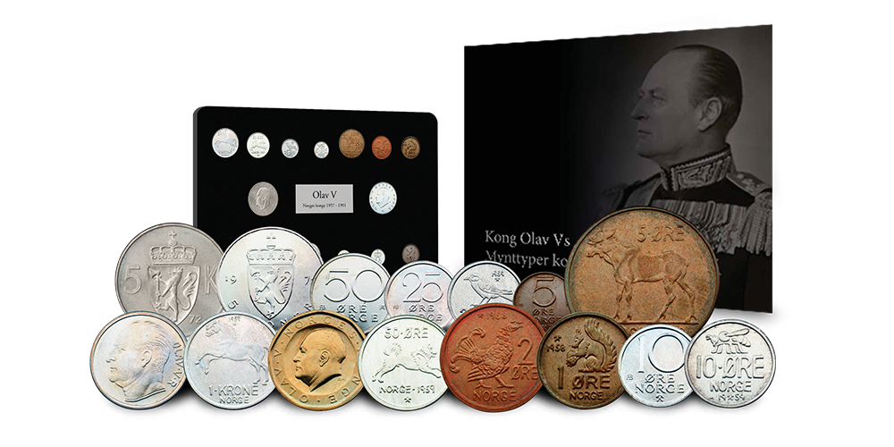 Komplett sett med Kong Olav Vs mynttyper!