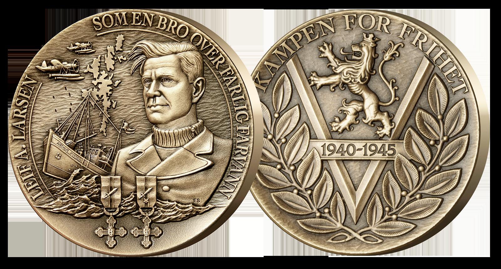 Massiv minnemedalje i over 100 gram bronse