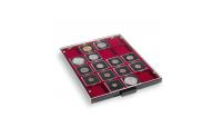Myntboks med rødt innlegg med plass til 20 myntrammer eller holdere