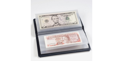 Mørkeblått lommealbum - 20 sedler- str.195x110x25 mm