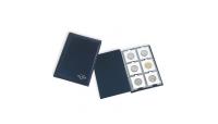 mørkeblått pocketalbum med plass til 60 mynter