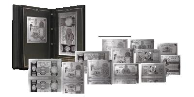 Den norske eksilregjeringens Londonsedler fra krigen gjenskapt og belagt med rent sølv