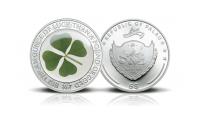 Lykkemynt i sølv 2017 med ekte firkløver