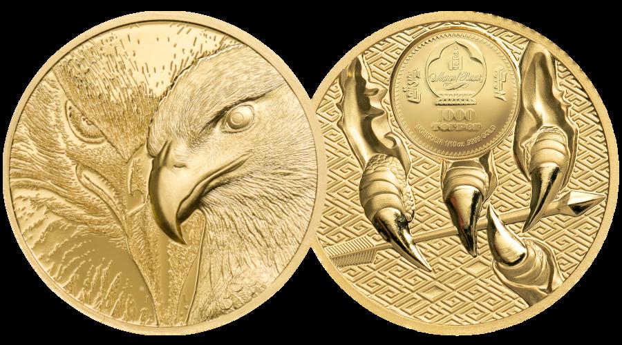 Den majestetiske ørnen preget med imponerende høyt relieff og detaljnivå