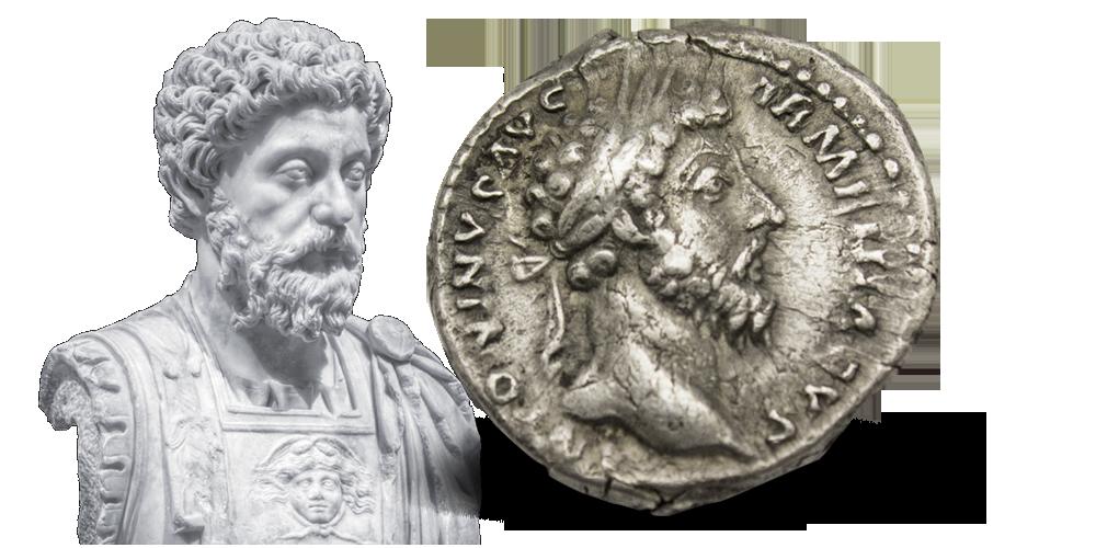 Originalmynt i sølv fra Keiser Marcus Aurelius