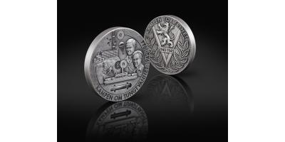 Minnemedalje i 1 kg sølv med ekte tungtvann