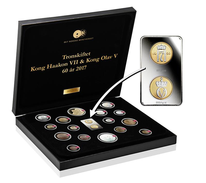 Det Norske Myntverkets første myntbarre med to mynter belagt med gull og platina!