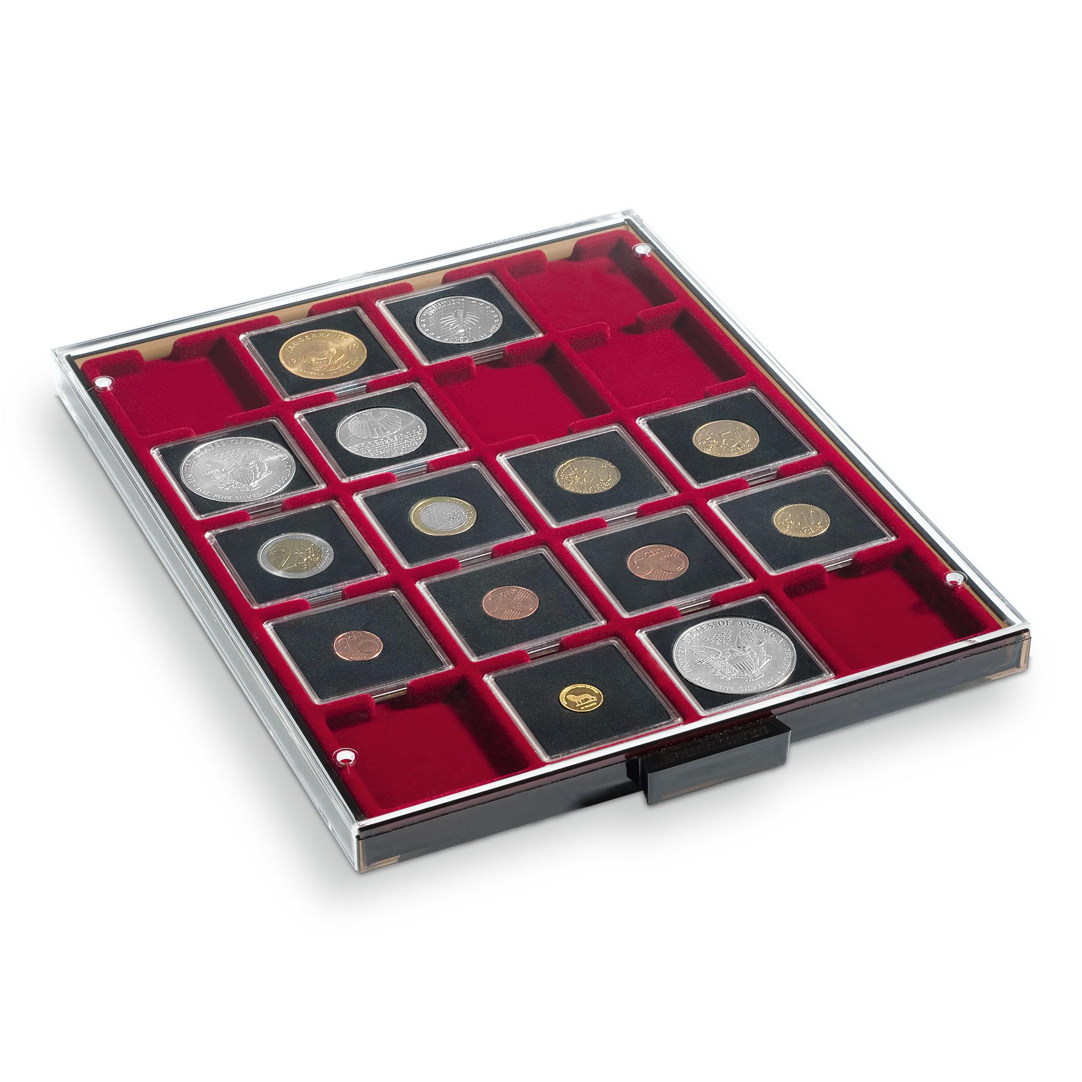 Myntboks til myntrammer - grå med rødt brett