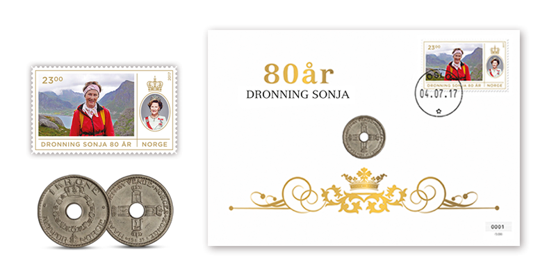 Dronning Sonja 80 år mynntbrev