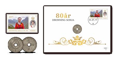 Myntbrev Dronning Sonja 80 år