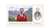 Frimerke Dronning Sonja 80 år
