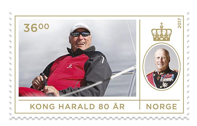 Frimerke Kong Harald 80 år